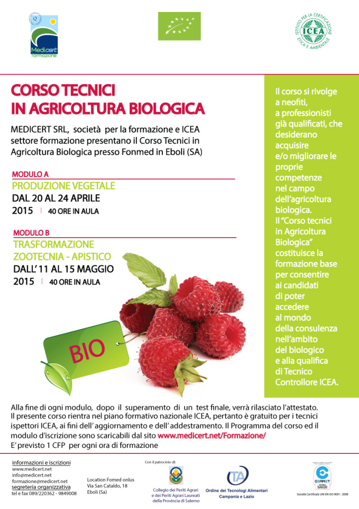 CORSO TECNICI IN AGRICOLTURA BIOLOGICA